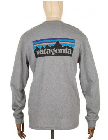 Patagonia L/S P-6 Logo T-shirt - Gravel