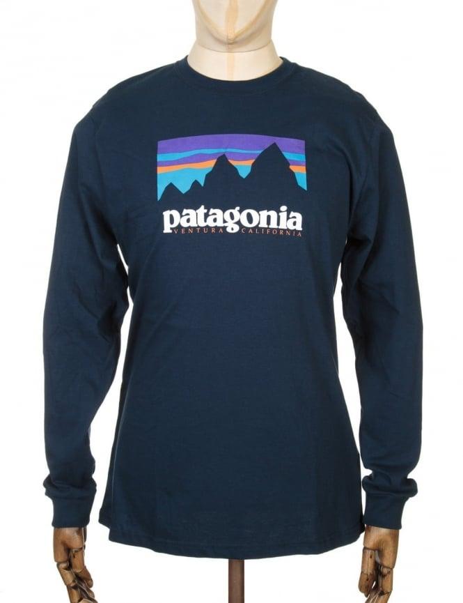 Patagonia L/S Shop Sticker T-shirt - Navy Blue