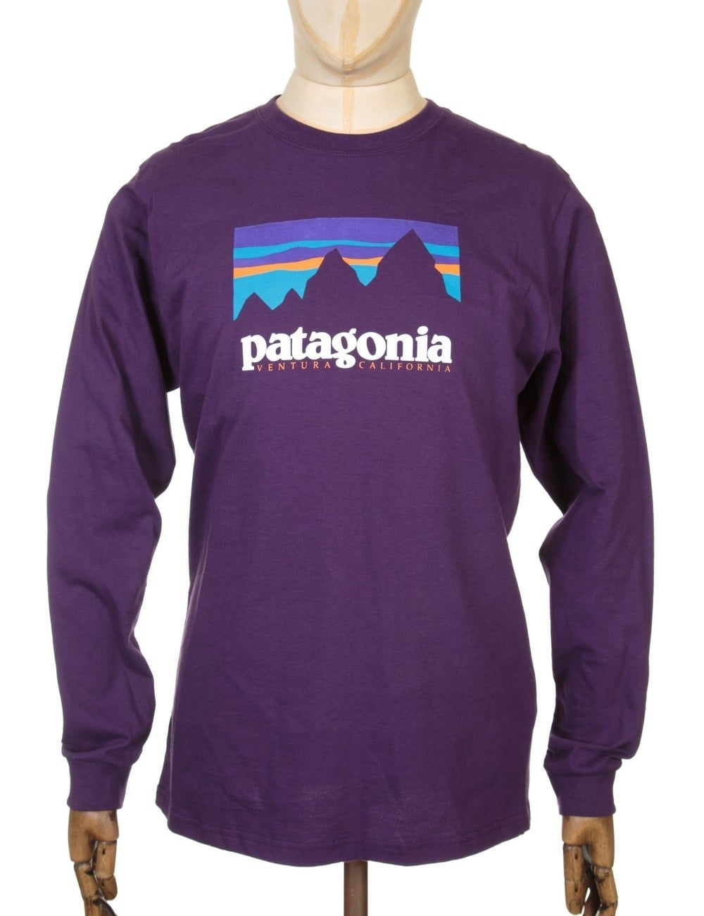 patagonia ls shop sticker tshirt panther purple t