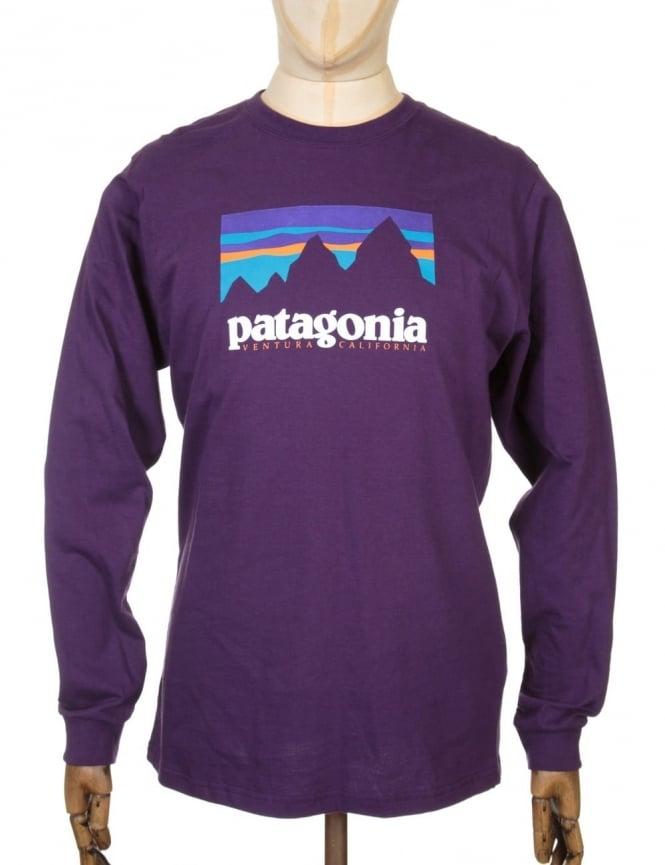 Patagonia L/S Shop Sticker T-shirt - Panther Purple