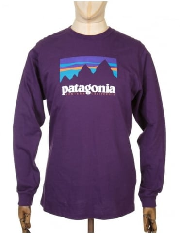 Patagonia L/S Shop Sticker T-shirt - Panther Purple