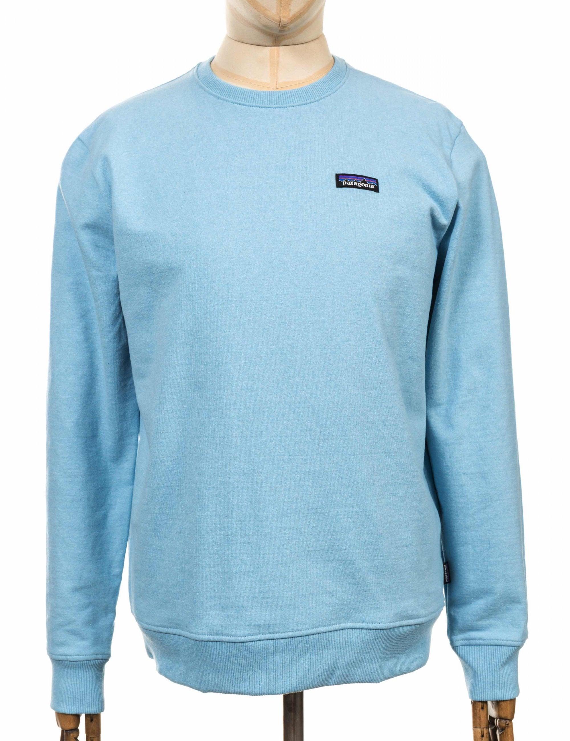 Patagonia P-6 Label Uprisal Crew Sweatshirt Break Up Blue SALE
