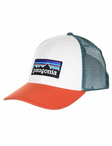 bdb0123d84914 Patagonia P-6 Logo LoPro Trucker Hat - White w Sunset Orange