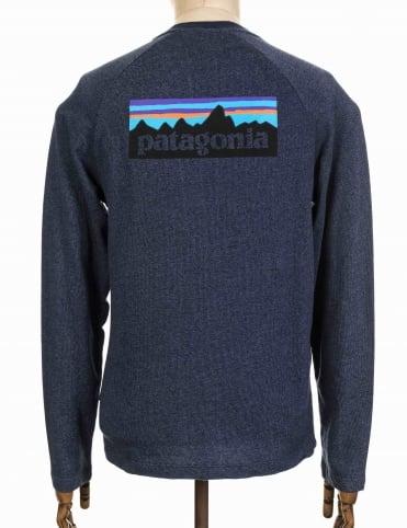 Patagonia P-6 Logo LW Sweatshirt - Navy Blue