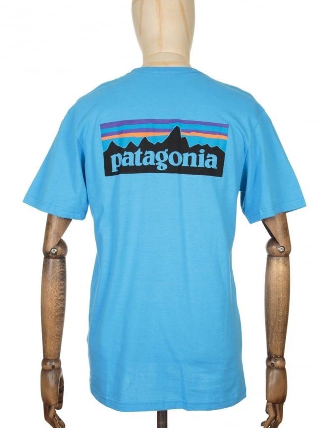 Patagonia P-6 Logo Pocket T-shirt - Skipper Blue
