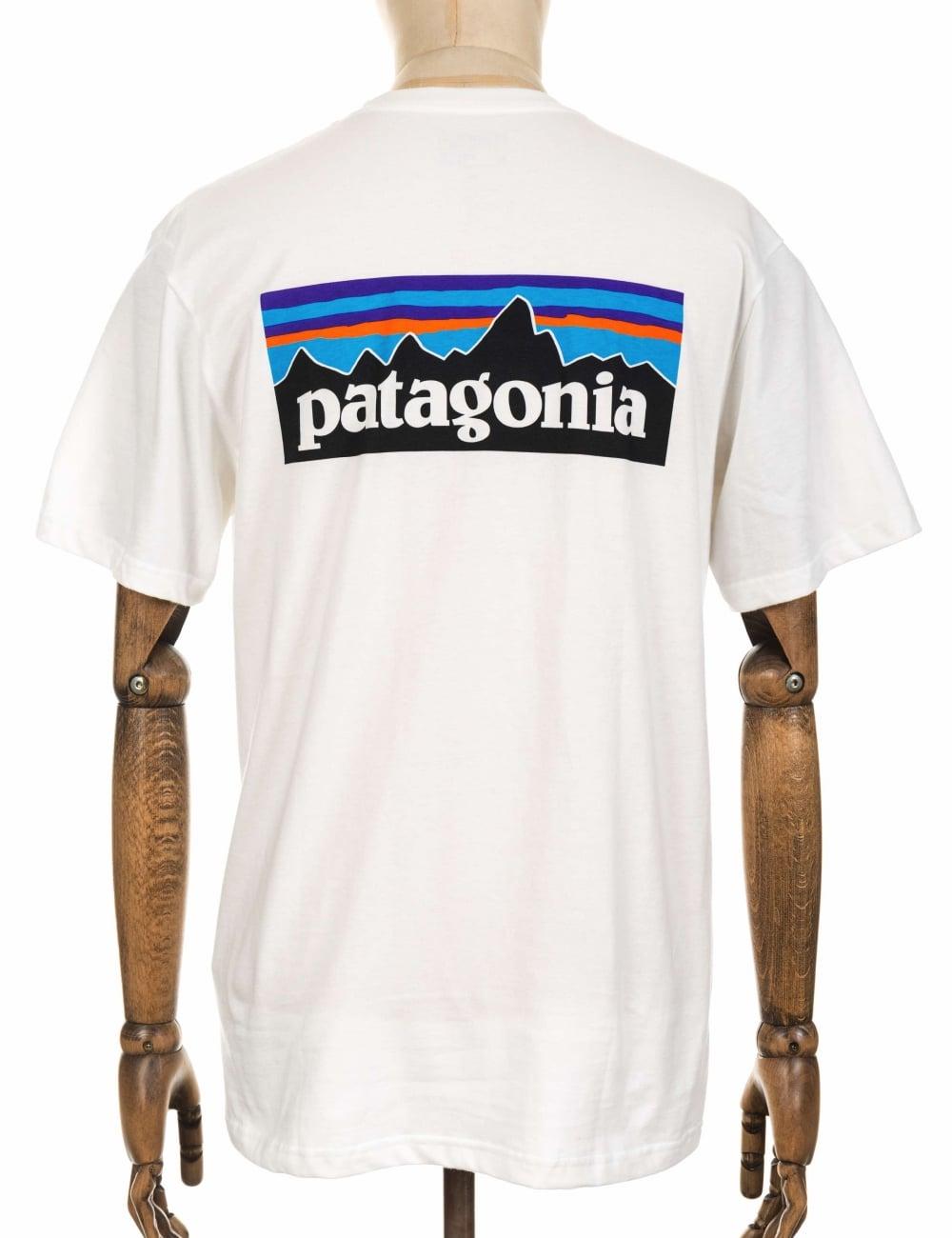 Patagonia P 6 Logo Pocket T Shirt White Clothing From