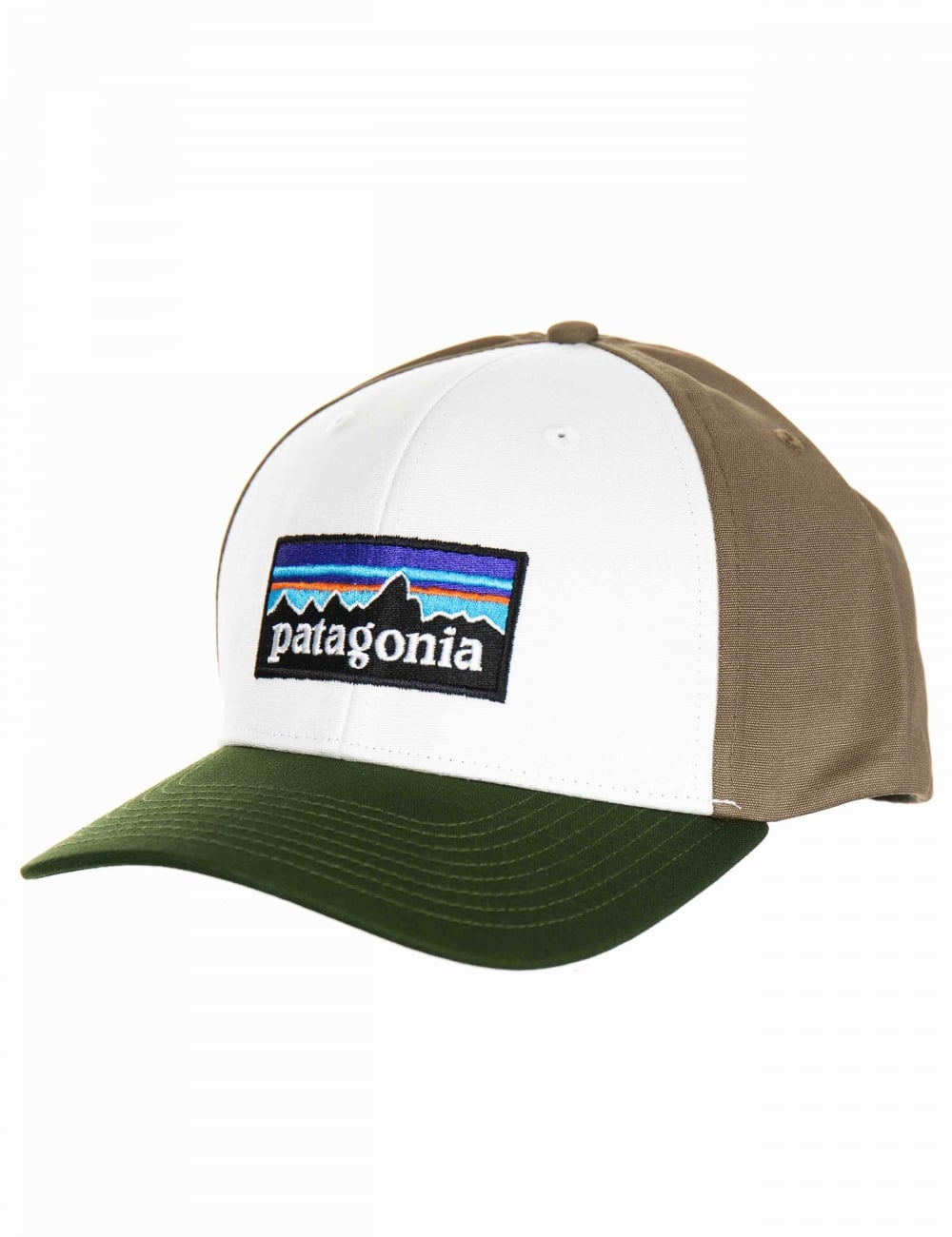 Patagonia P-6 Logo Roger That Hat - White with Glades Green ... 34d4af5677f