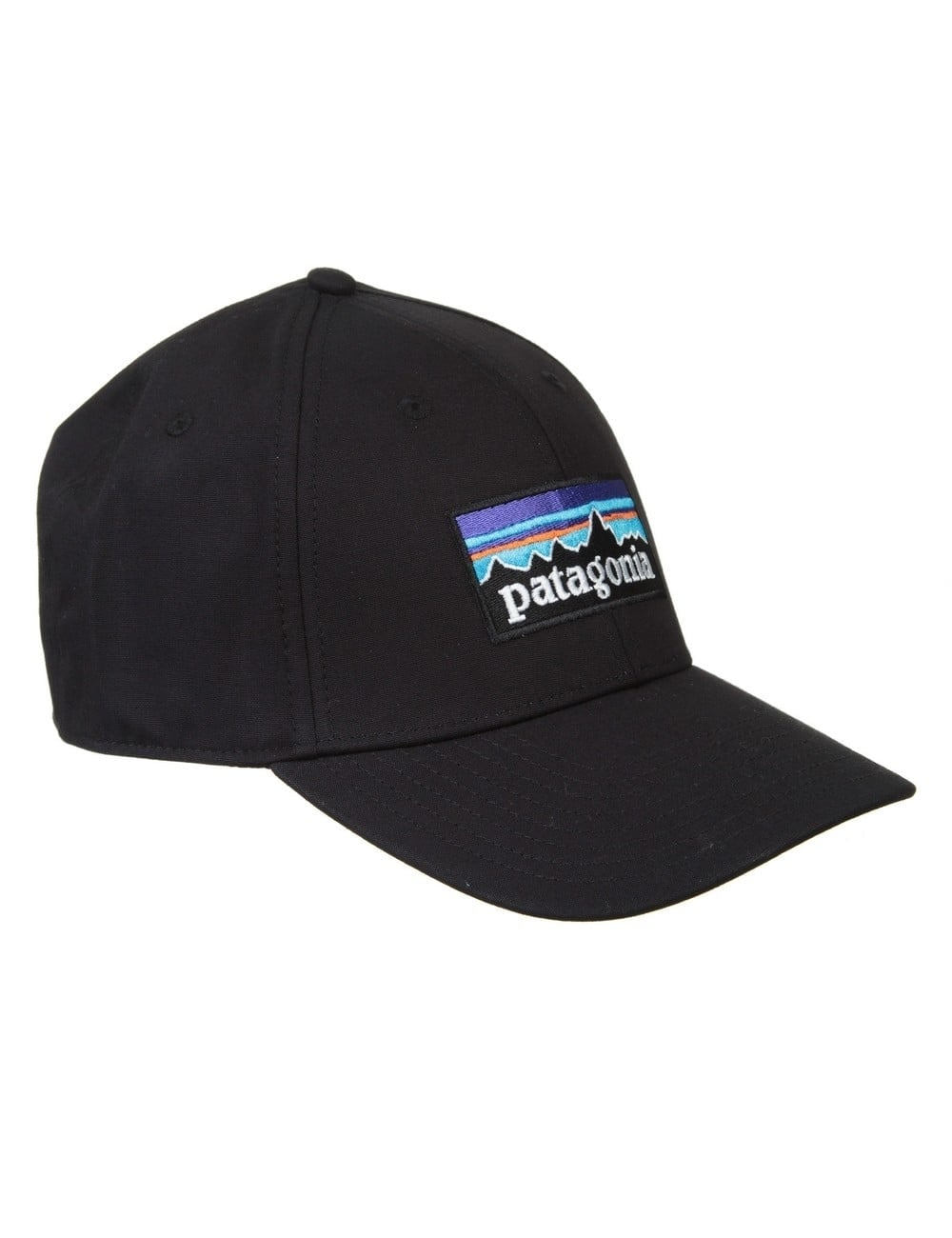 b9d9f2402465d Patagonia P-6 Logo Stretch Fit Hat - Black - Accessories from Fat ...