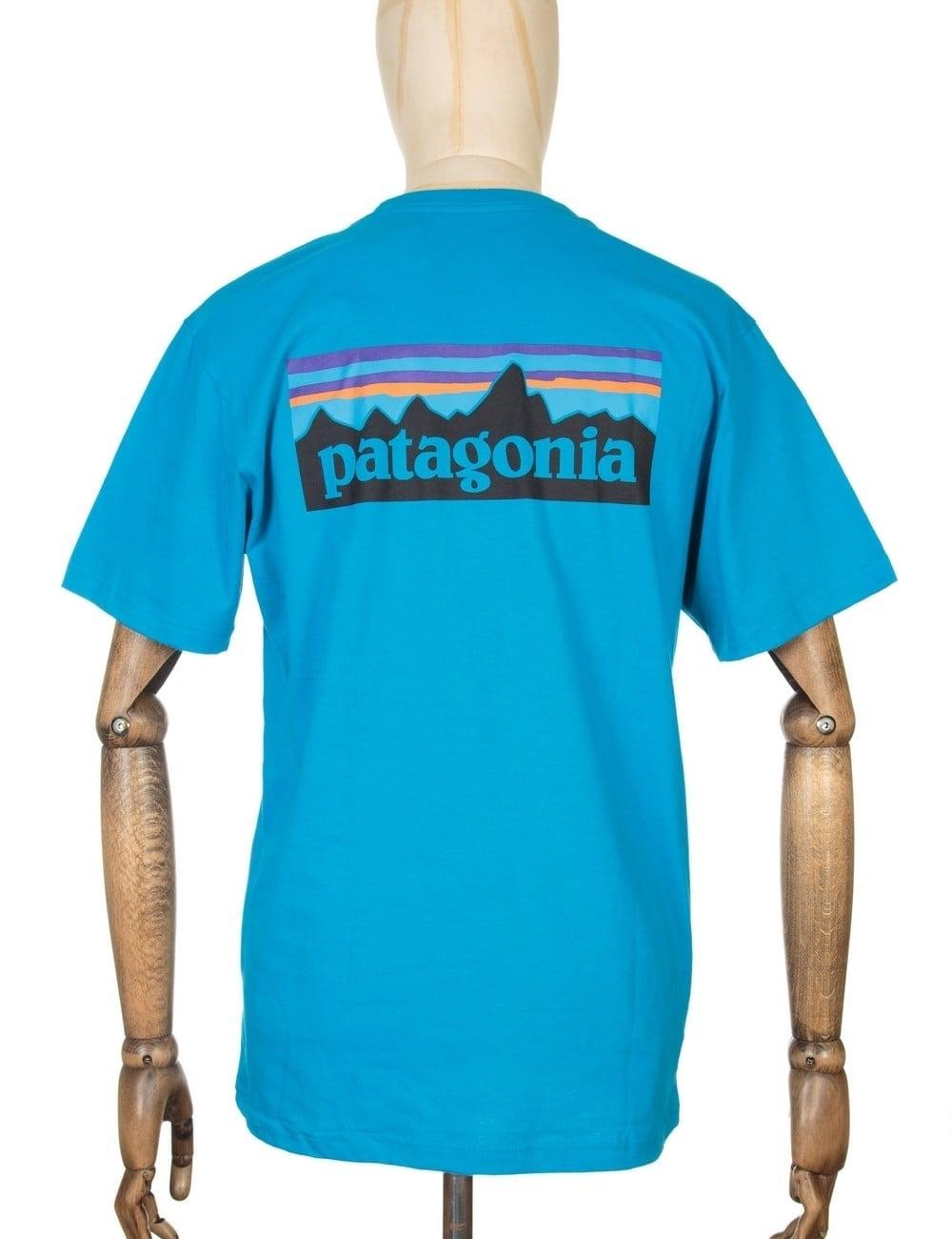 Patagonia P-6 Logo T-shirt - Grecian Blue - Clothing from Fat Buddha ...