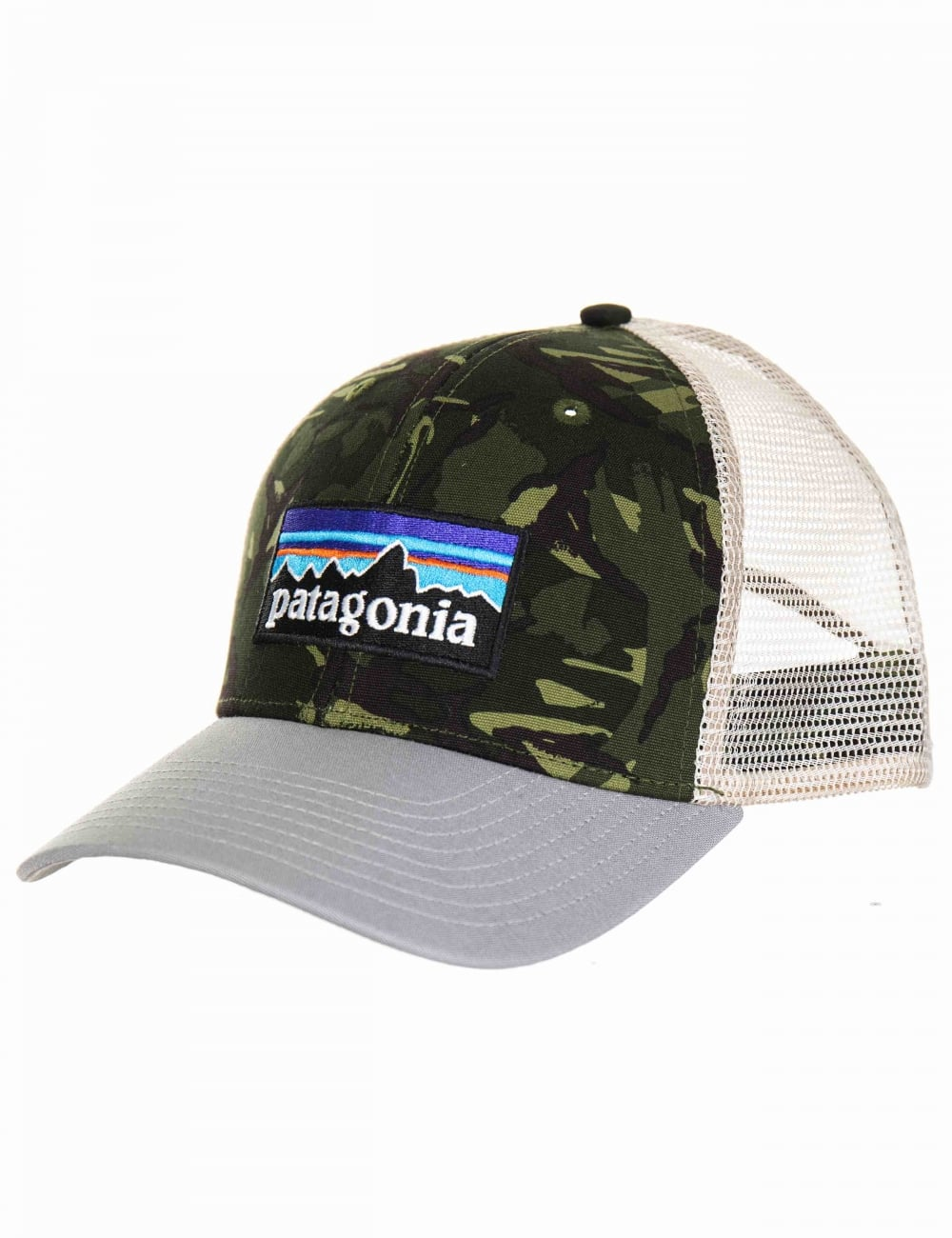 Patagonia P-6 Logo Trucker Hat - Big Camo Fatique Green with Drifter Grey d54b952b2f8e