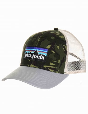 P-6 Logo Trucker Hat - Big Camo:Fatique Green with Drifter Grey