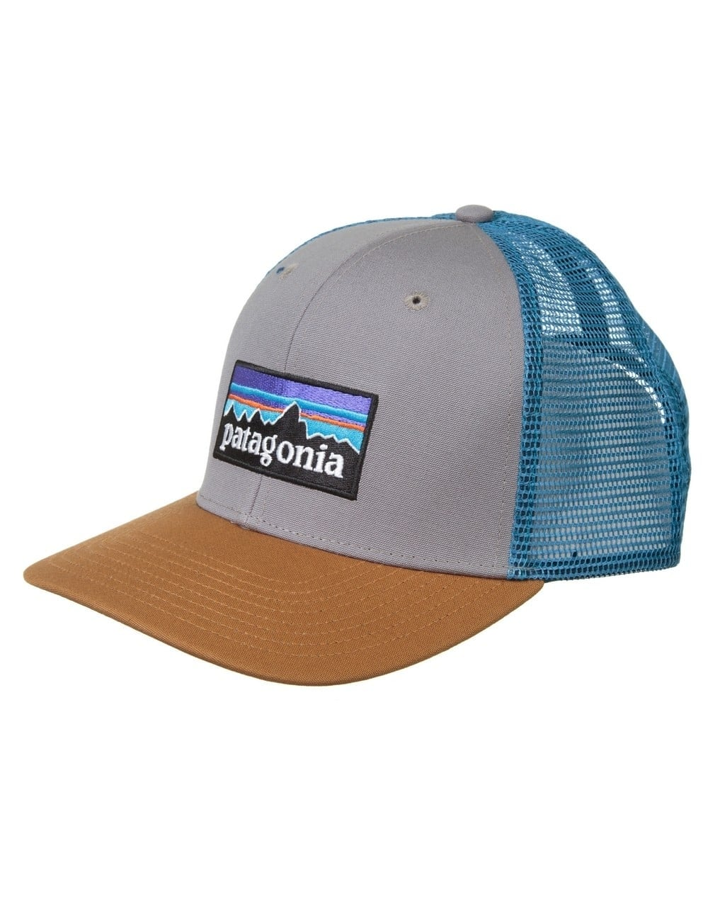 Patagonia P-6 Logo Trucker Hat - Feather Grey Bear Brown ... 2ed8ed7ff0a5