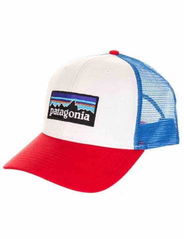 Patagonia P-6 Logo Trucker Hat - White/Fire Red