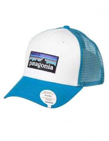 Patagonia P-6 Logo Trucker Hat - White/Grecian Blue