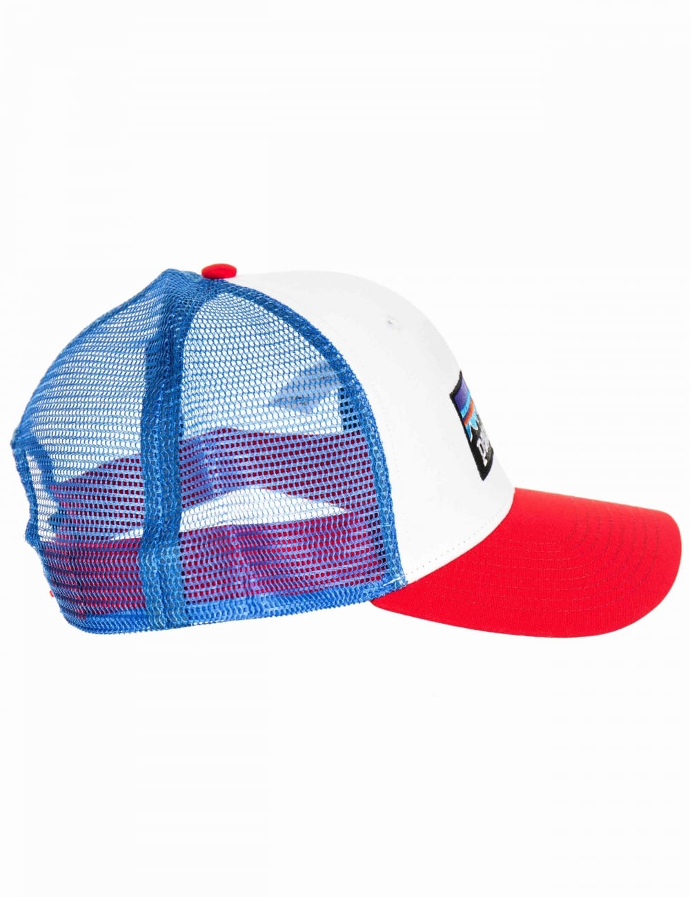 803590f1f P-6 Logo Trucker Hat - White with Fire Red/Andes Blue