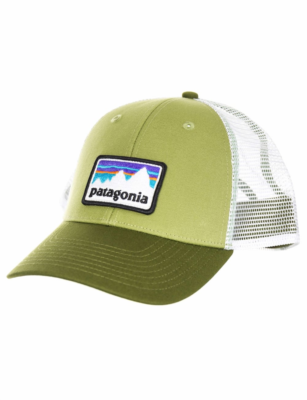 Patagonia Shop Sticker Patch LoPro Trucker Hat - Crag Green - Hat ... b22da4b46d0