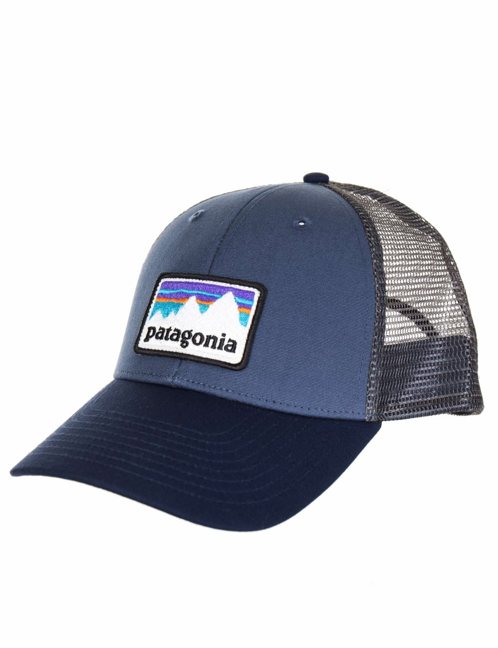 a9148f0c091 Patagonia Shop Sticker Patch LoPro Trucker Hat - Dolomite Blue - Hat ...