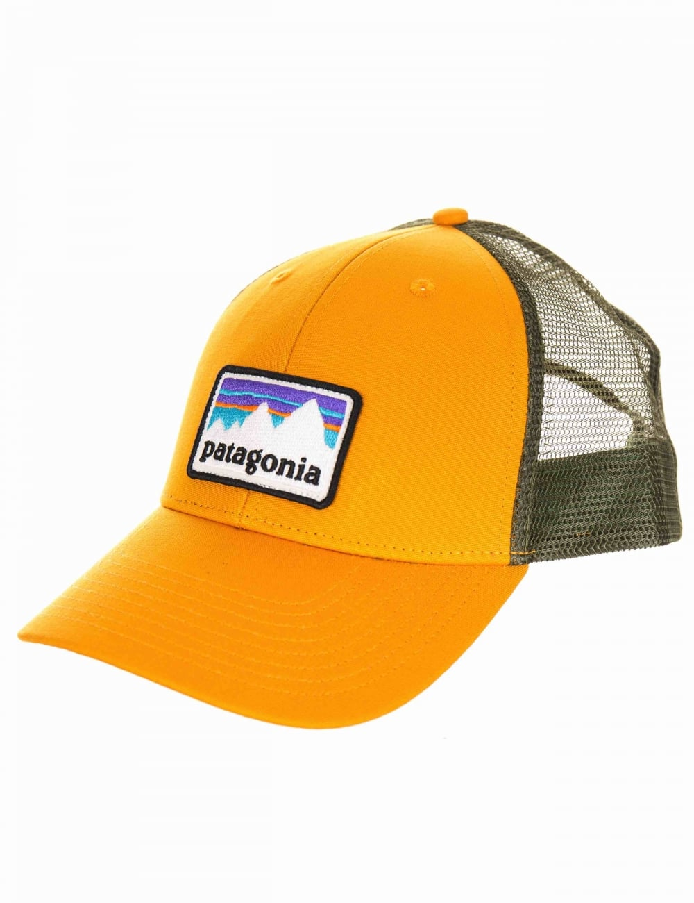 Patagonia Shop Sticker Trucker Hat - Ysidro Yellow - Hat Shop from ... cf75d6b74c4d