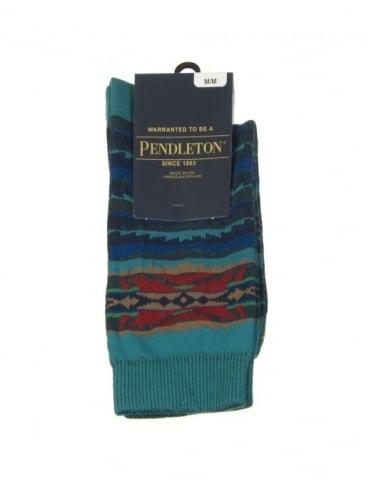 Pendleton Woolen Mills Lahaina Wave Socks - Aegean