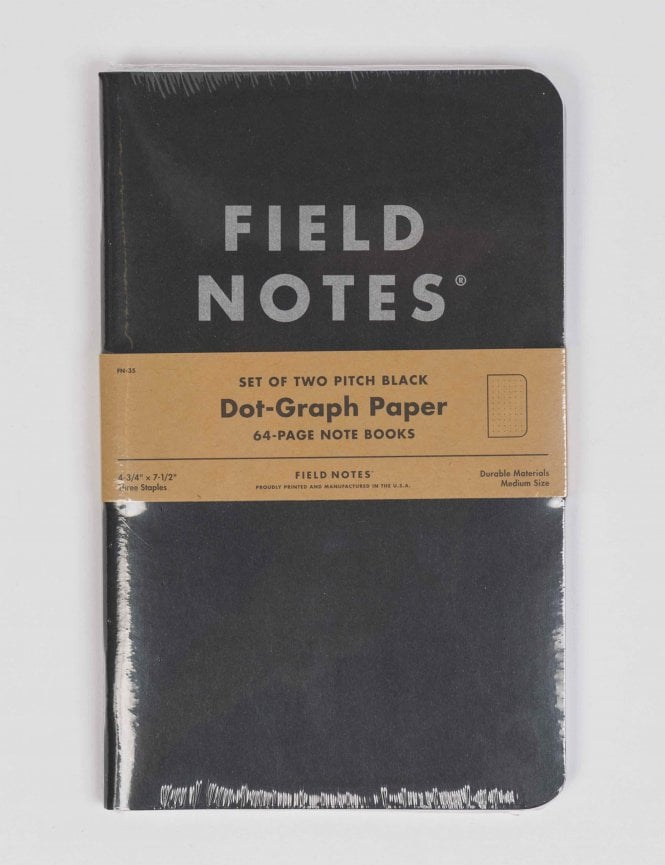 field notes pitch black large notebook  2 pack