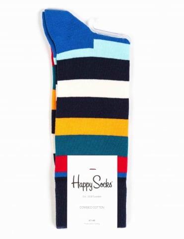Stripe Socks - Blue/Orange