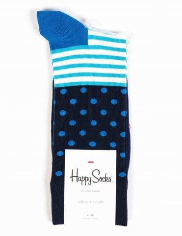 Stripe Dot Socks - Blue/White