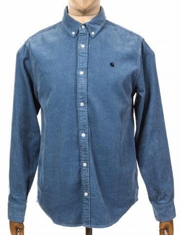 L/S Madison Cord Shirt - Cold Blue