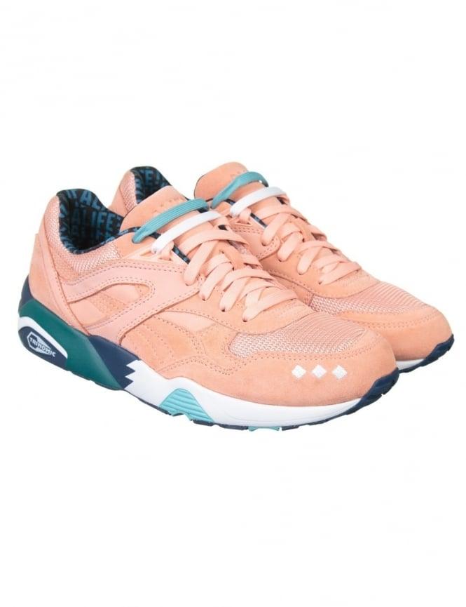 Puma x Alife R698 Shoes - Peach/Bud Lyons Blue