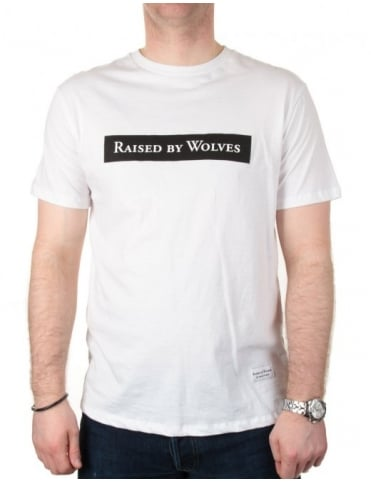 Raised by Wolves Box Logotype Tee - White