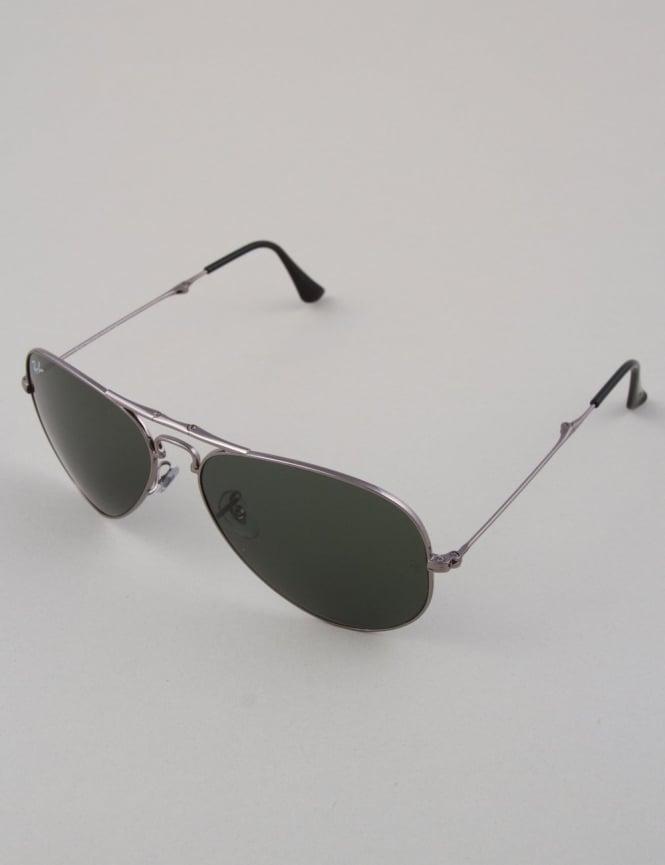 Ray-Ban Aviator Folding Sunglasses - Gunmetal // Crystal Green