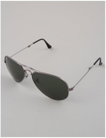 Ray-Ban Aviator Folding Sunglasses - Gunmetal // Crystal Green