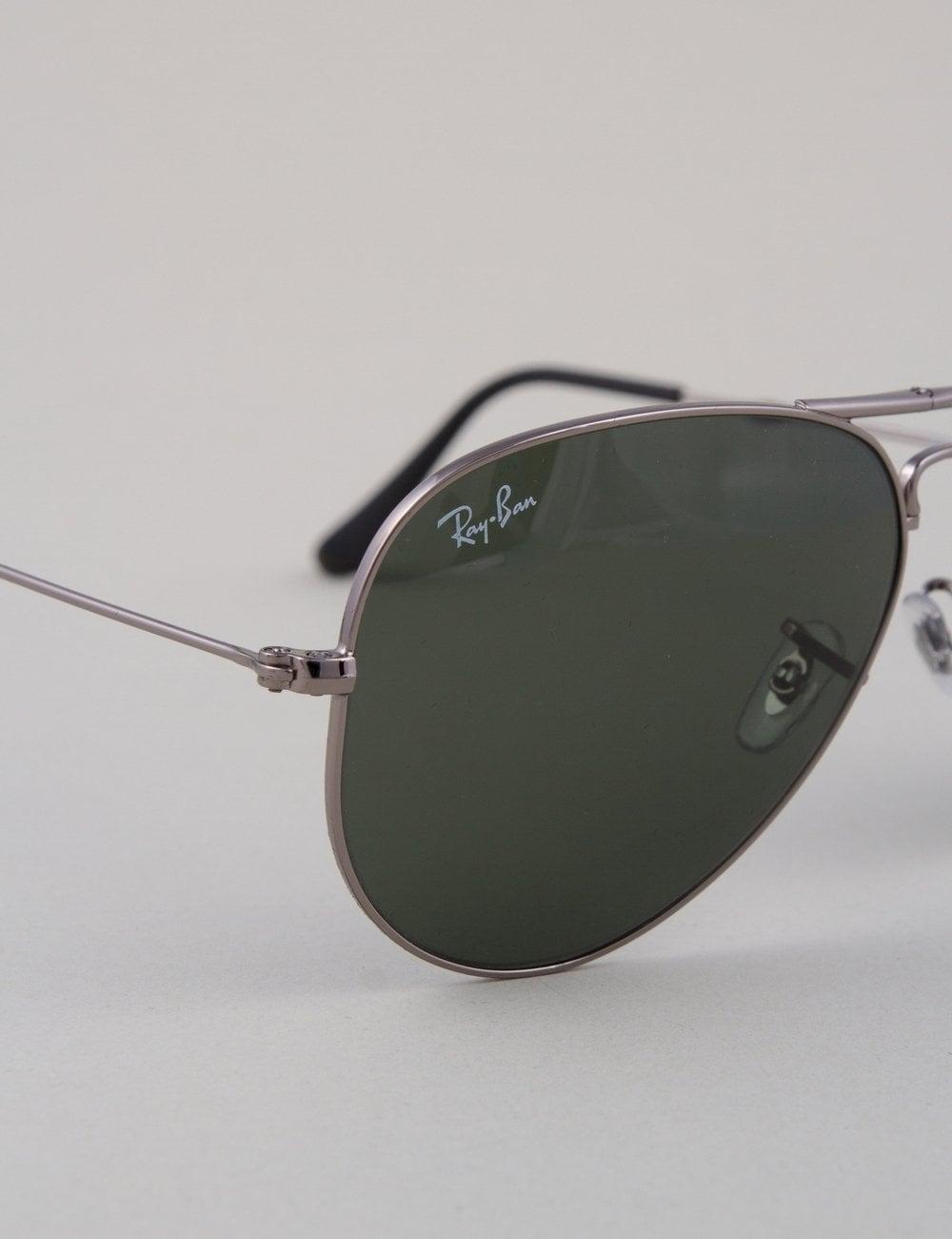 a975c3ec2b Ray-Ban Aviator Folding Sunglasses - Gunmetal    Crystal Green ...