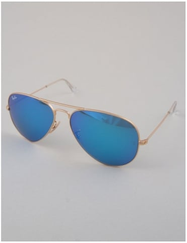 Ray-Ban Aviator Sunglasses - Gold // Mirror Blue