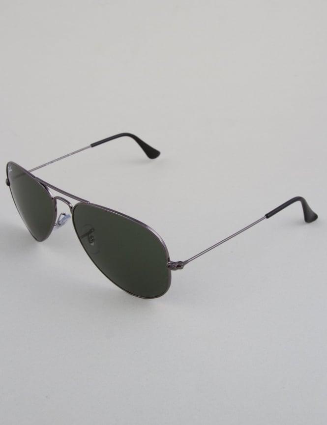 Ray-Ban Aviator Sunglasses - Gunmetal // Crystal Green