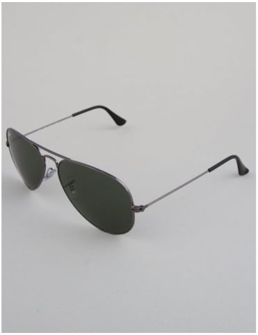 Ray-Ban Aviator Sunglasses - Gunmetal // Crystal Green