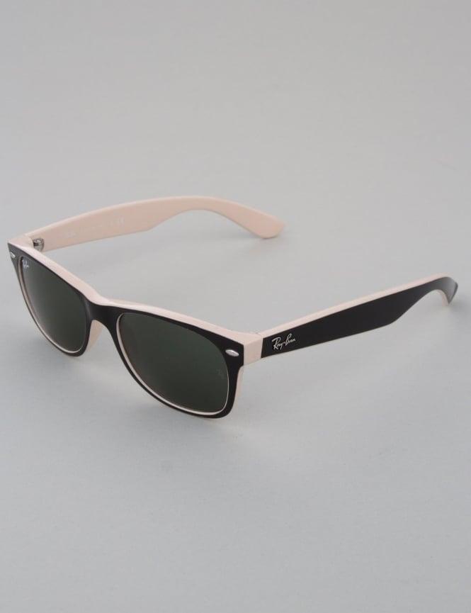 Ray-Ban New Wayfarer Sunglasses - Top Black on Beige // Crystal Green