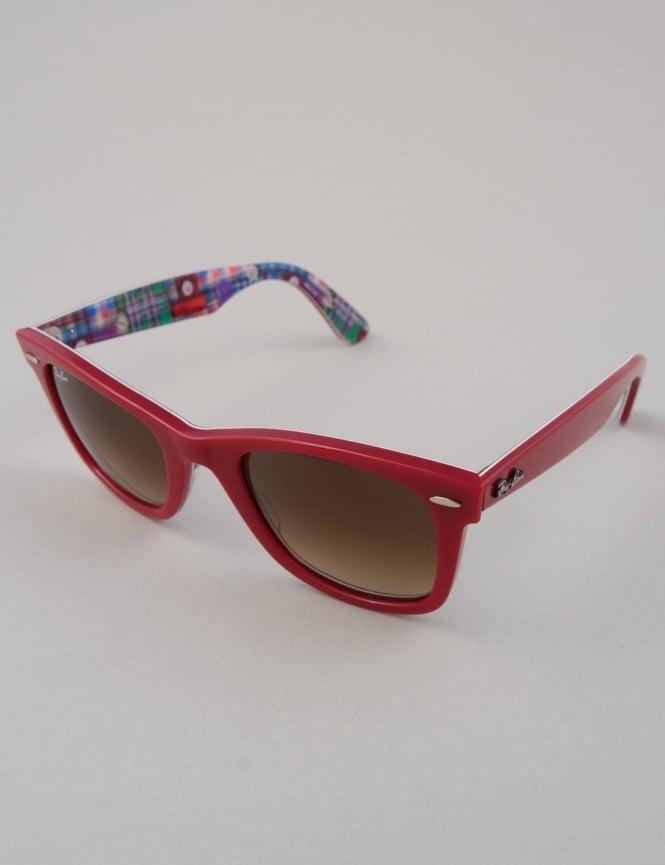 Ray-Ban Original Wayfarer Sunglasses - Top Red on Plaid // Brown Gradient