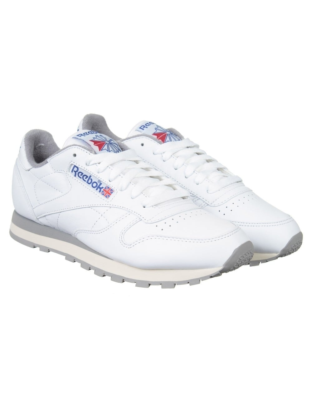 c08e4bf1f8a Reebok CL Leather R12 Shoes - White Grey Sand - Footwear from Fat ...