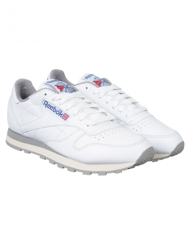 Reebok CL Leather R12 Shoes - White/Grey/Sand