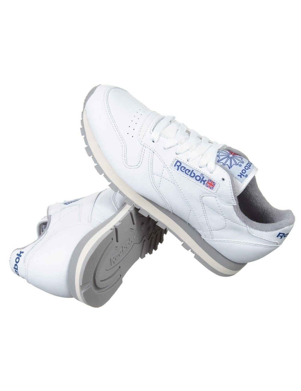 b01f45946b6 Reebok CL Leather R12 Shoes - White Grey Sand - Footwear from Fat ...