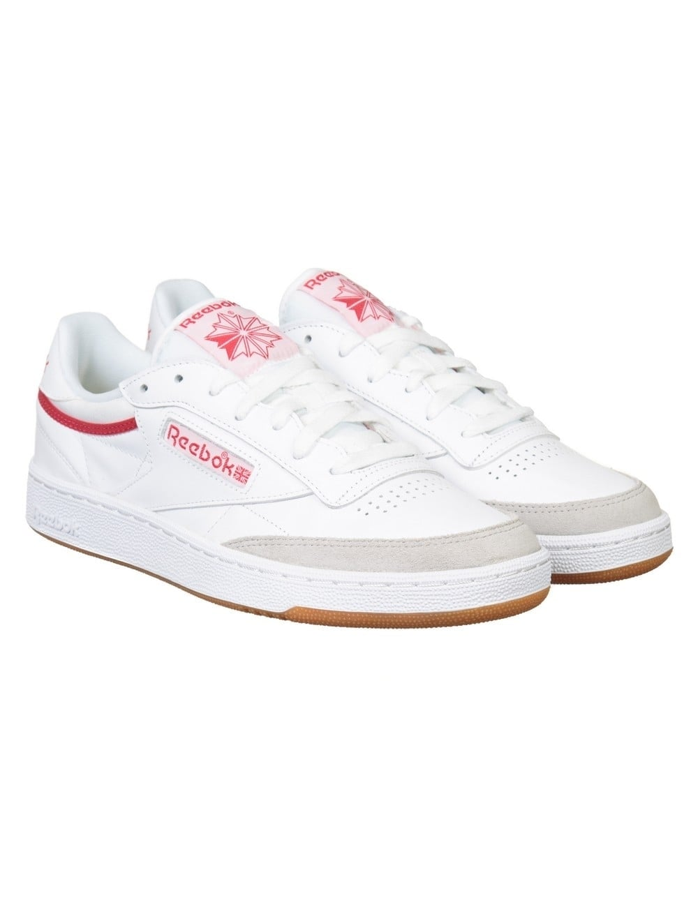 6cdbae4bd0b361 Reebok Club C 85 CP Shoes - White Grey Red - Footwear from Fat ...