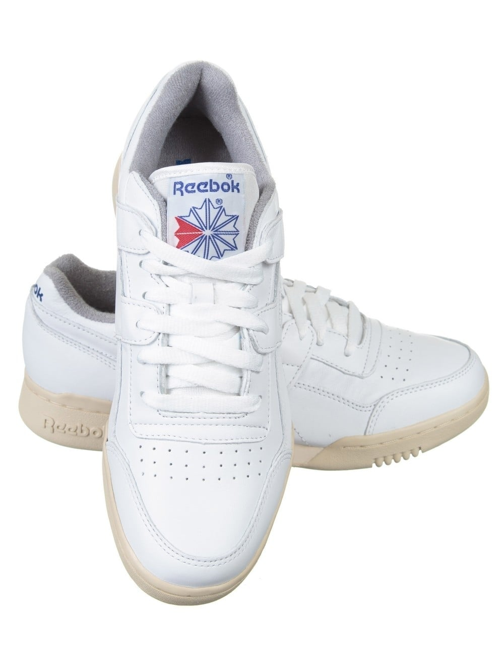 7cd9ce83e3b Reebok Workout Plus Shoes White Royal Grey Sand Footwear From
