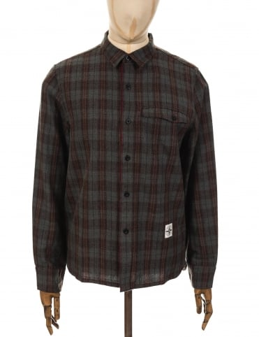Roamers and Seekers LS Lowland Shirt - Military Olive/Barolo