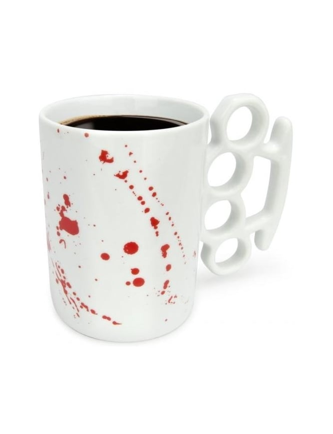 Thabto Knuckle Duster Mug - Blood Splatter White Limited Edition