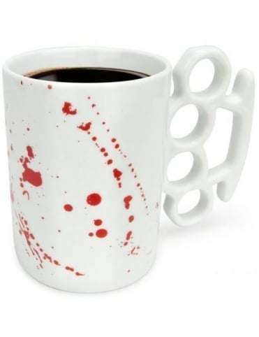 Thabto Knuckle Duster Mug - Blood Splatter White Limited Edition
