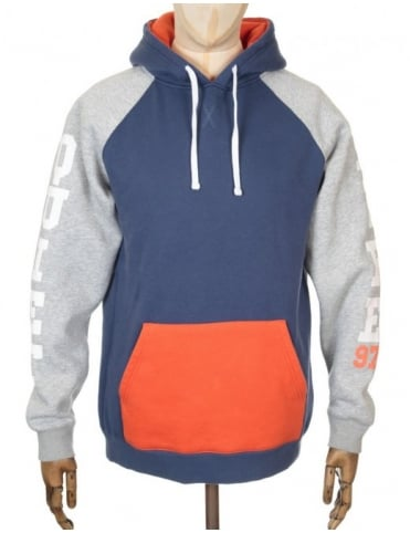 The Quiet Life Climber Hooded Sweat - Navy/Orange
