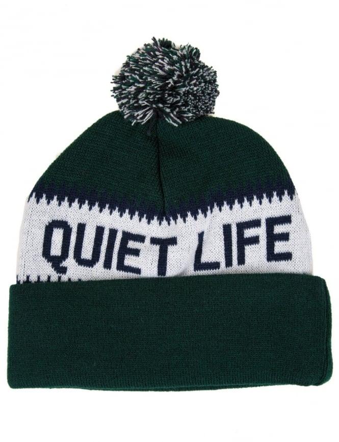 The Quiet Life Flake Pom Beanie - Green/Black