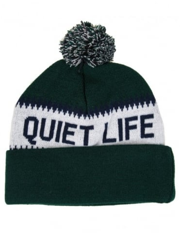Flake Pom Beanie - Green/Black