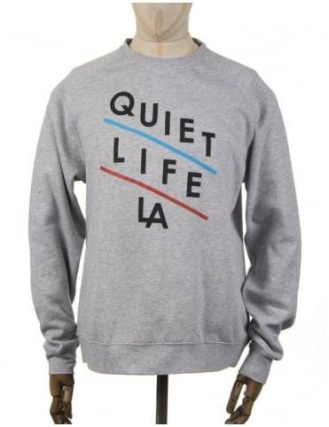 The Quiet Life Slant Logo Sweatshirt - Heather Grey