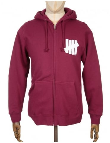 Undefeated 5 Strike Zip Hooded Sweatshirt - Burgundy